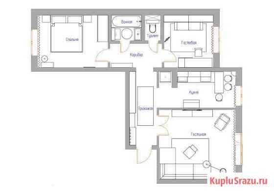 Готовый дизайн-проект 3-комнатной квартиры Чайковский
