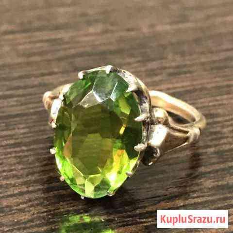 Винтажное Кольцо с зелёным камнем в серебре 875 пр Санкт-Петербург