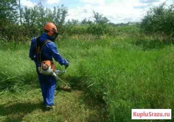 Покос травы триммером в Малых Дербетах Малые Дербеты