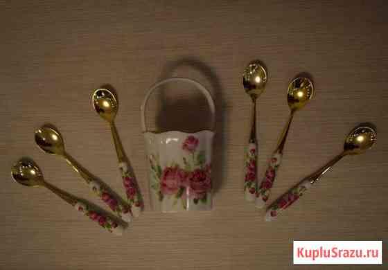 Набор чайных ложек с ручками из фарфора новый Москва