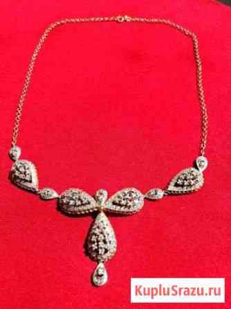 Колье золотое с бралиантами на белом золоте Карабулак