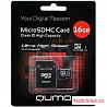 Карта памяти MicroSD 16GB Qumo + SD адаптер