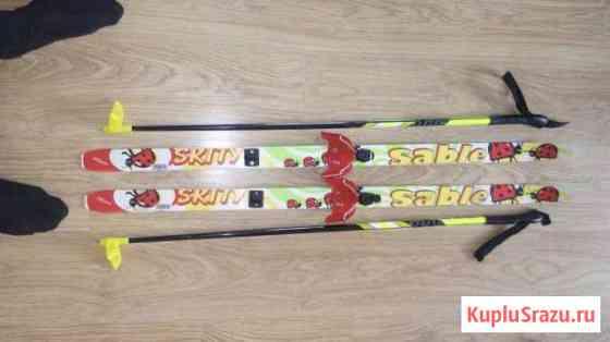 Лыжи детские 110см с палками Жуковка