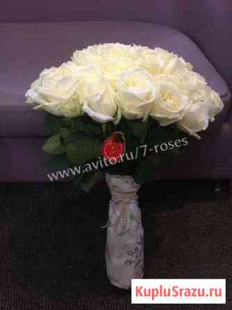 Розы белые 35 штук 50 см. Доставка круглосуточно Краснодар