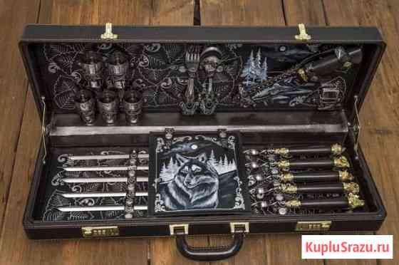 Подарочный кейс Волк с шампурами ручной работы Павлово