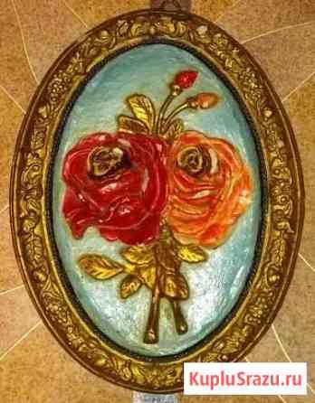 Панно плакетка картина Розы гипс 23х17 см Псков