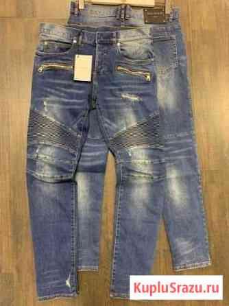 Синие джинсы Balmain motorbike бальман Москва