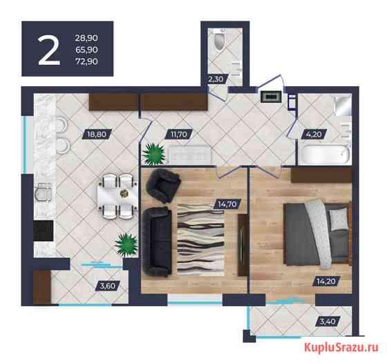 Двухкомнатная квартира с индивидуальным отоплением в Юго - Западном р Ставрополь