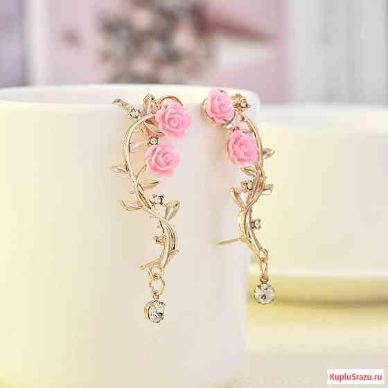 Серьги с розовым листом розы Липецк
