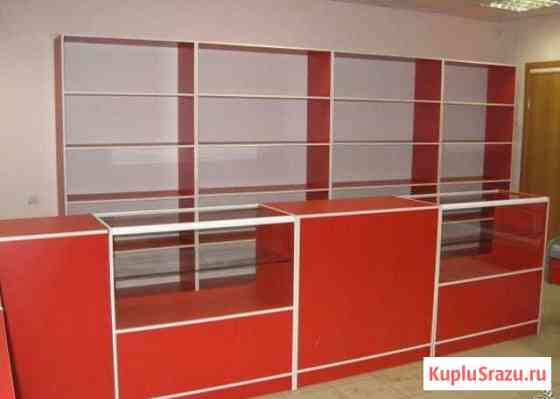 Стеллажи, прилавки красный фон для магазина Тула