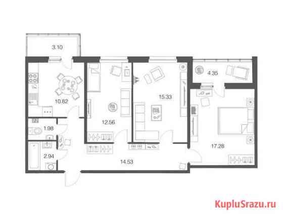 3-комнатная квартира, 75.6 м², 1/4 эт. Кузьмоловский