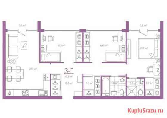 3-комнатная квартира, 80.2 м², 3/19 эт. Астрахань