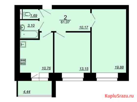 2-комнатная квартира, 61.1 м², 1/9 эт. Владимир