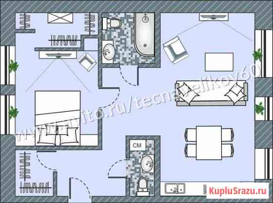 2-комнатная квартира, 60.9 м², 1/3 эт. Псков
