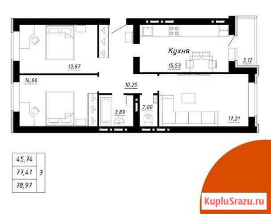 3-комнатная квартира, 79 м², 4/5 эт. Стерлитамак