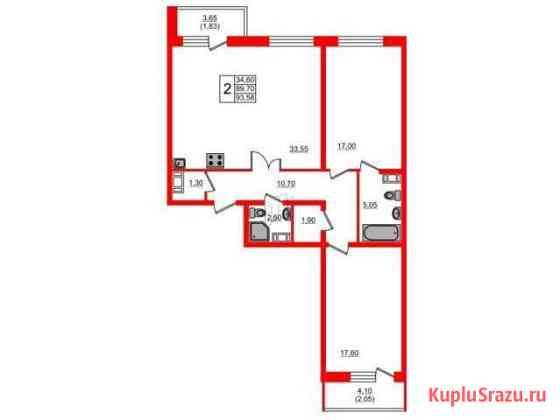 2-комнатная квартира, 93.8 м², 2/25 эт. Санкт-Петербург
