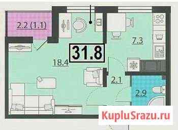 1-комнатная квартира, 31.8 м², 5/22 эт. Санкт-Петербург