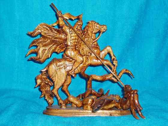 Деревянная скульптура Георгий победоносец Грибановский