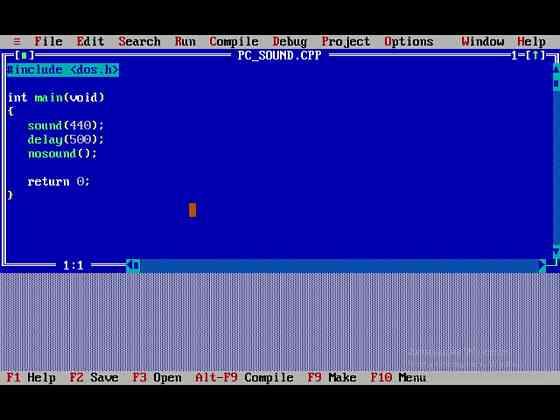 Программа на Turbo C+ (подключение динамика PC) Тверь