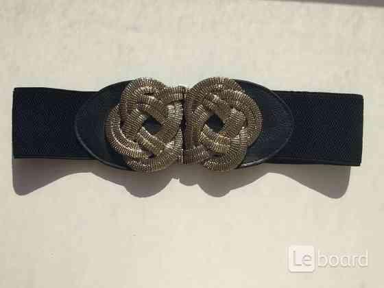 Пояс ремень резинка ткань металл под золото бронзу кожзам 4446 черный аксессуар женский Москва